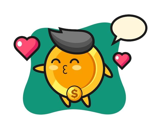Доллар монета персонаж мультфильма с жестом поцелуя