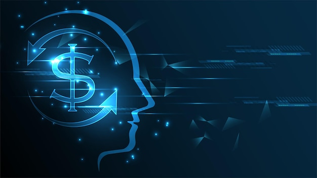 Dollar coin money currency on human head techn background. business finance money exchange concept.