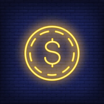 Dollar coin on brick background. Neon style illustration. Money, cash, wealth.