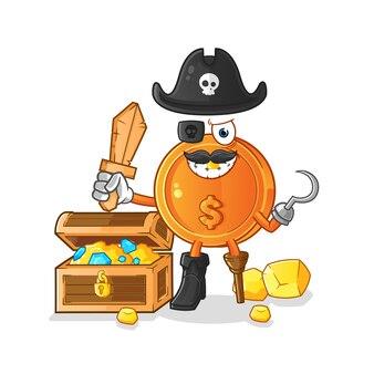 宝のイラストとドル硬貨海賊