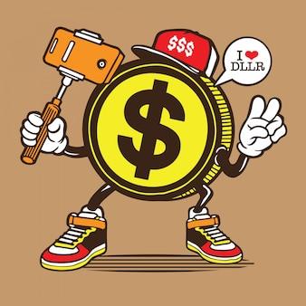 $ dollar coin selfie character
