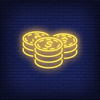 Dollar coin stacks on brick background. Neon style illustration. Savings, money, income.