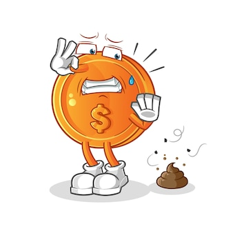Dollar coin with stinky waste illustration