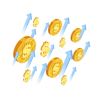 Dollar coins and arrows isometric illustration
