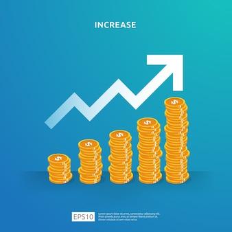 달러 동전 더미 돈 성장, 성공, 사업 이익 성장 또는 소득 급여 비율 증가에 대 한 그림 개념. roi roi의 재무 성과