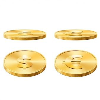 Dollar and euro coins vector illustration