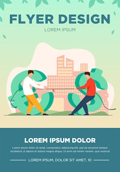 Dollar and euro competition. currency characters playing tug-of-war, pulling rope flat vector illustration. finance, money, currency rate concept for banner, website design or landing web page