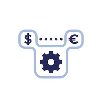 Dollar to euro exchange icon with gear