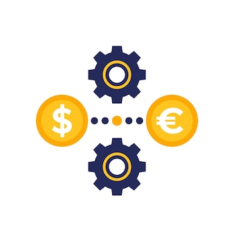 Dollar to euro exchange icon with gears
