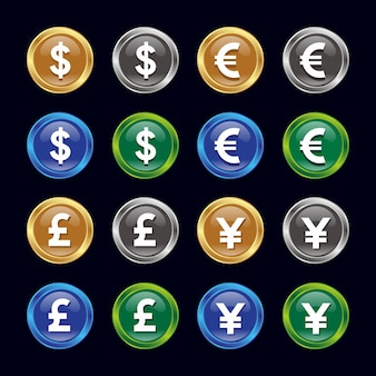 Dollar, Euro, Pound, Yen currency icon