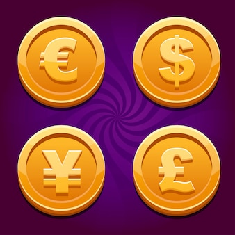 Dollar, euro, pound and yen, gold cos