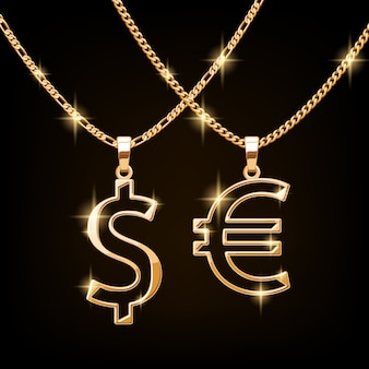 Dollar and euro sign jewelry necklace on golden chain. hip-hop style.