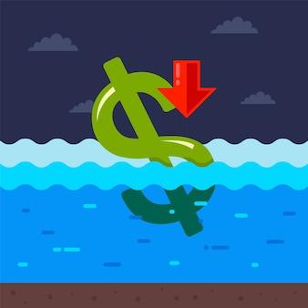 달러는 물에 익사하고 있습니다. 코로나 바이러스 전염병으로 인한 미국의 경제 위기.