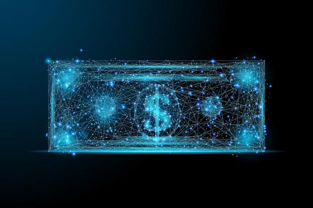 달러 낮은 폴리 블루 다각형 달러 참고 어두운 배경에 고립 된 비즈니스 및 금융