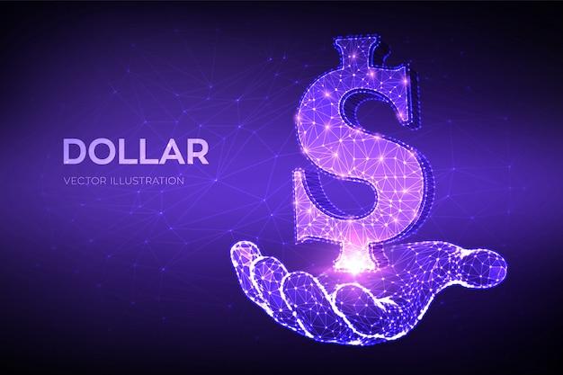 달러. 낮은 다각형 추상 메쉬 선 및 포인트 미국 달러 기호 손에. 미국 달러 통화.