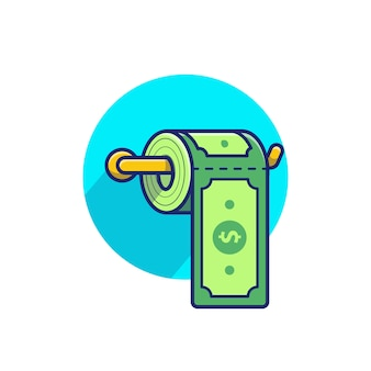 Dollar money toilet tissue paper roll illustration
