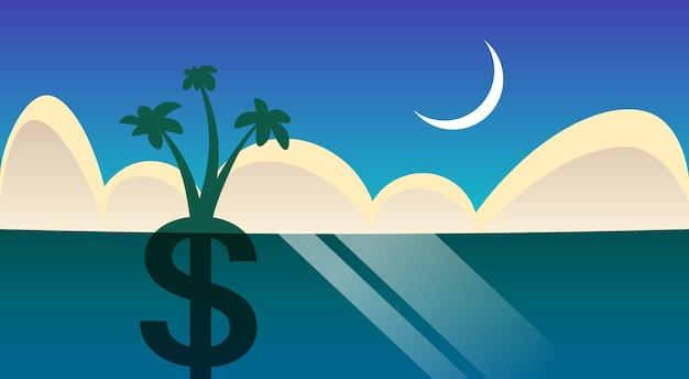 Dollar palm tree grow in night ocean