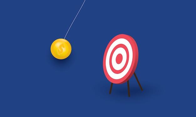 Dollar pendulum hit the target success business concept inspiration business