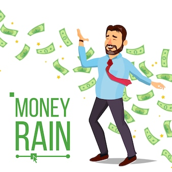 Dollar rain and businessman