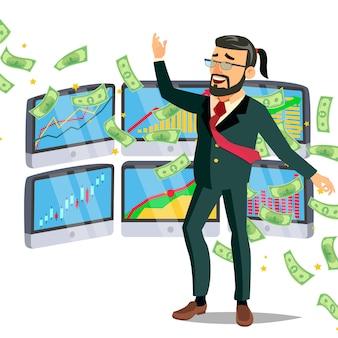 Dollar rain and businessman