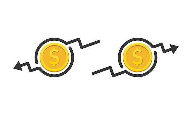 ドルレートは増減します。コインアイコン。上下のお金の矢印。コスト削減。孤立した白い背景の上のベクトル。 eps10。