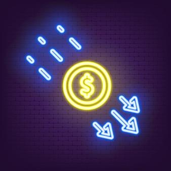 ドルレート減少ベクトル線アイコンネオン。下矢印付きの通貨記号。お金の危機のアイコン。低コストのアイコン。ビジネスは危機の減少を失った。ベクトルイラスト。