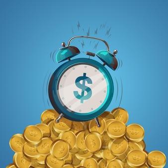 Знак доллара мультфильм будильник на горе золотых монет. векторная иллюстрация.