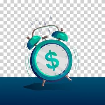 Dollar sign cartoon alarm clock. vector illustration. isolated object.