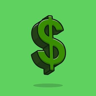 Illustrazione dell'icona di vettore del fumetto del segno del dollaro. concetto di icona oggetto finanza isolato vettore premium. stile cartone animato piatto