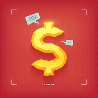 Dollar sign. golden jewel typeface element. gold casted.  illustration.