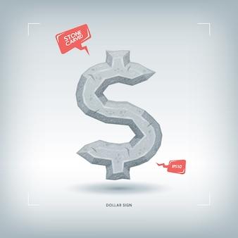 Знак доллара. каменный резной элемент шрифта. иллюстрации.