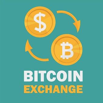 달러에서 비트코인으로 환전. bitcoin 동전 기호 및 다른 통화의 기호로 bitcoin 교환. 암호화폐 기술. 벡터 일러스트 레이 션