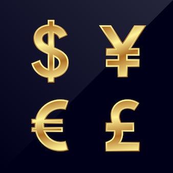 Значок валюты доллара, йены, евро, фунта стерлингов