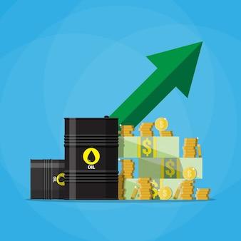 ドルとコイン、石油バレルチャートグラフ上矢印