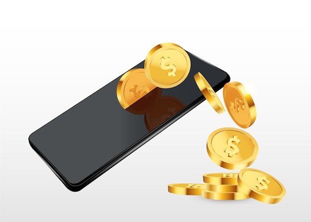 Dollars gold coins  falling from the phone on purple background