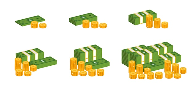 Dollars and golden coins isometric illustration set