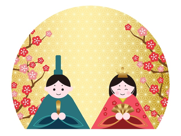 Dolls in traditional japanese costumes with flowers