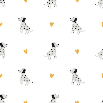 Dolmatian pattern. cute baby background. funny cartoon character. print for printing children's textiles, clothing, decor. vector illustration, hand-drawn