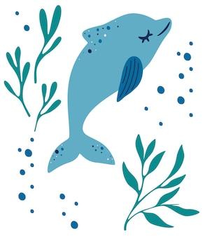 돌고래와 조류. 바다 잡초 사이에 떠 있는 돌고래. 바다 동물과 야생 수중 동물군 개념. 해양 수생 포유류 동물입니다. 귀여운 벡터 평면 그림