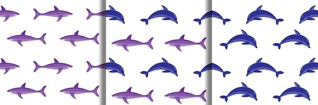イルカとサメの刺繡のシームレスなパターンセット