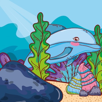 Dolphin animal with shells and seaweed plants