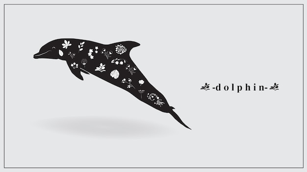 A dolphin of black color with white flowers and plants.