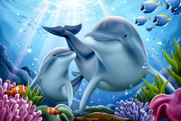 Dolphin family playing underwater