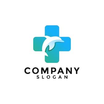 Дельфин рыбы и медицинский логотип