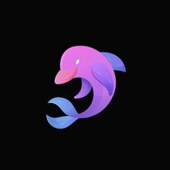 イルカグラデーションカラフルなモダンな魚ロゴイラスト