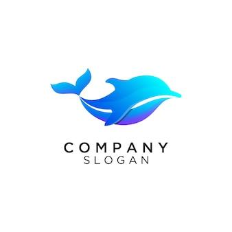Шаблон логотипа градиент дельфина