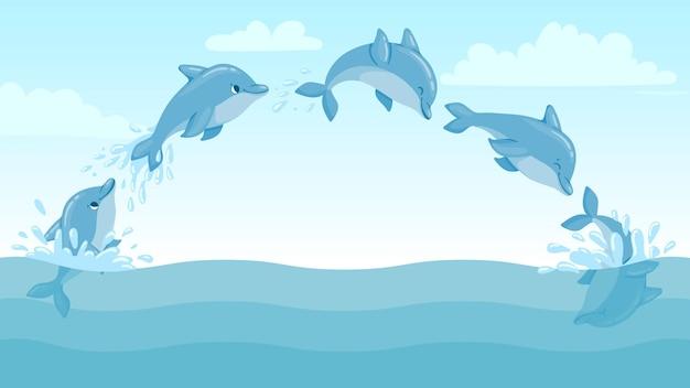 돌고래는 물에서 뛰어내립니다. 점프 돌고래와 밝아진 만화 해양 풍경입니다. 귀여운 바다 돌고래 캐릭터 벡터 애니메이션 프레임입니다. 물에서 돌고래 스플래시, 해양 야생 동물