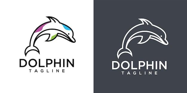 イルカの線画のロゴのデザイン