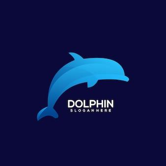 Дельфин логотип красочный градиент иллюстрации