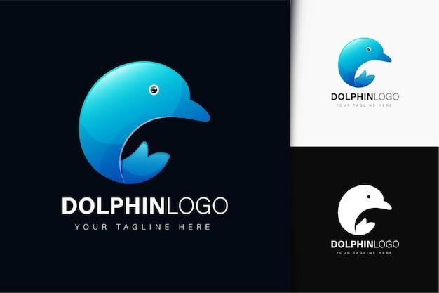 Дизайн логотипа дельфина с градиентом